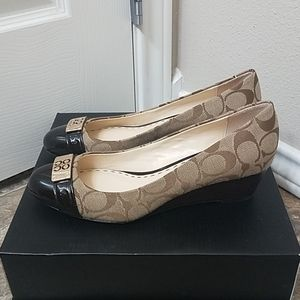 Coach Meryl cap toe wedge pumps